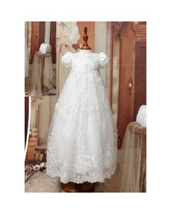 Princess Daliana Girls Gown & Bonnet Off White Silver Thread Embroidery Rstone Trim Size 3m-12m | Baby Baptism Gowns 19137U Ivory
