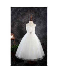 Princess Daliana Girls Gown Off White Embroidered Bodice With Pearls & Rstone Flower Size 2-14 | First Holy Communion Dress For Girl 1919B Ivory