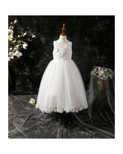 Princess Daliana Girls Gown Off White High Low Leaves & Flower Applique On Tulle Size 2-14 | Girls 1St Communion Dresses D9012072 Ivory