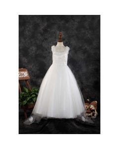 Princess Daliana Girls Gown Off White With Tail Pearl Strings Roses Applique & Embroidery Size 2-14 | Girls 1St Communion Dresses 2043 Ivory