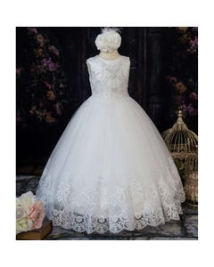 Princess Daliana Girls Gown Offwhite Pearl & Lace Bodice & Hem &Sequins Size 2-14 | Girls 1St Communion Dresses 2067 White