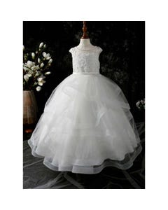 Princess daliana Girls Gown Off White Lace & Flower Applique Silver Sparkle Tulle Layer Size 2-14 | Girls 1St Communion Dresses D20448 Ivory