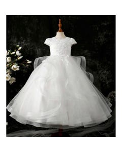 Princess daliana Girls Gown Off White Satin Embroidered Bodice & Tulle Layers Skirt H/Bone Trim Size 2-14 | Girls 1St Communion Dresses D20498 Ivory