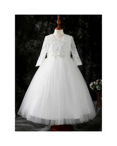 Princess daliana Girls Gown Off White Lace Bodice & Sleeve Tulle Skirt Pearl & Rstone Size 2-14 | First Holy Communion Dress For Girl D20506 Ivory