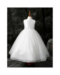 Princess daliana Girls Gown Off White Satin Bodice Pearl Embroidered Waistband Sparkly Skirt Size 1-14 | Girls Communion Dresses D20609 Ivory