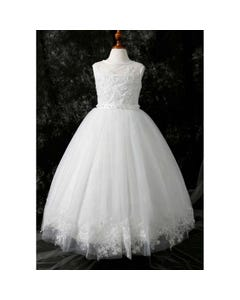 Princess daliana Girls Gown Off White Embroidered Tulle Bodice & Hem Sparkly Underskirt Size 2-14 | Girls Holy Communion Dresses D20500 Ivory