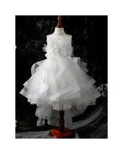 Princess daliana Girls Gown Off White High Low Lace Pearl & Sequin Applique Tulle Layers Size 2-14 | Girls Communion Dresses D20454-1 Ivory