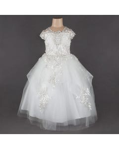 Princess daliana Girls Gown Off White Silver Lace Bodice & Tulle Skirt Applique Layers Size 2-14 | Girls Communion Dresses 63920 Ivory