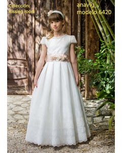 DRESS COMMUNION EMBROIDERED LACE HEM & CAP SLEEVE CUTOUT BACK