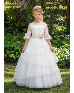 DRESS COMMUNION LAYER TULLE LACE SLEEVE PEACH BELT & PIN LACE BODICE