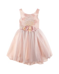 2 PC DRESS & HAIRCLIP PINK TULLE EMBOSSED BODICE FLOWER BROACH TRIM