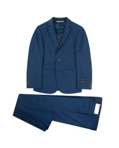 2 PC SUIT DARK BLUE SKINNY FIT SMALL CHECK PRINT