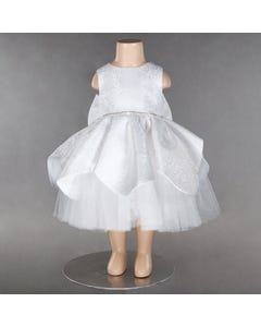 DRESS WHITE EMBOSSED SATIN TULLE UNDERLAY