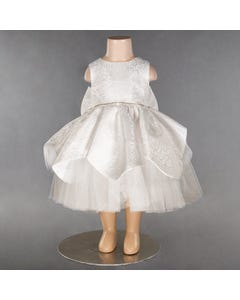 DRESS OFF WHITE EMBOSSED SATIN TULLE UNDERLAY
