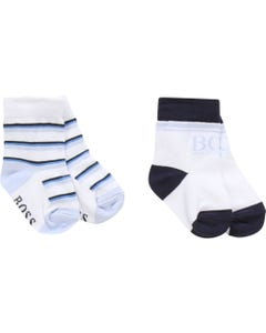 2 PC SOCK SET WHITE & BLUE STRIPE