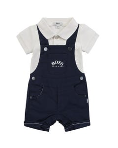 2 PC ROMPER & POLO ONESIE NAVY & WHITE