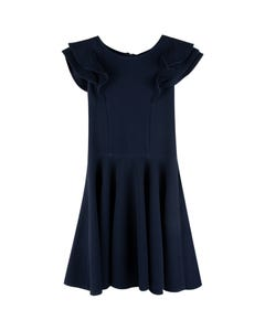 DRESS NAVY RUFFLE CAP SLEEVE FLARE SKIRT TONE ON TONE PATTERN