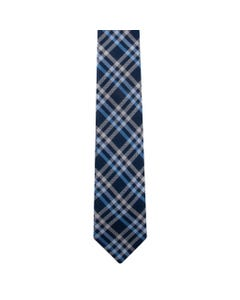 TIE NAVY SILVER & BLUE PRINT LONG