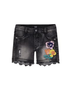 SHORT DENIM BLACK FLOWER EMBROIDERY
