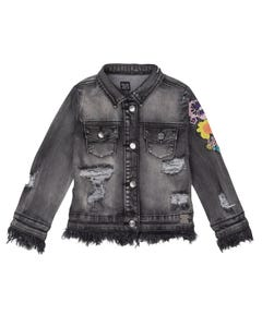 DENIM JACKET BLACK EMBROIDERY FLOWERS