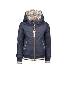 JACKET NAVY HOODED REVERSIBLE LEOPARD PRINT