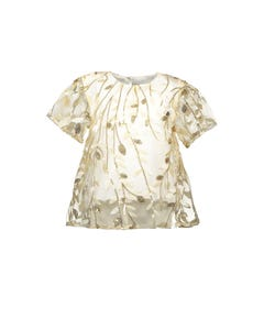 TOP WHITE GOLD LEAVES SEQUINS & EMBROIDERED