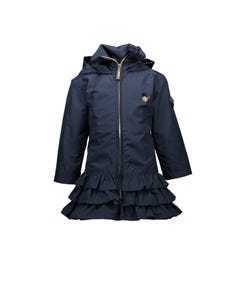 COAT NAVY RUFFLE HOODED