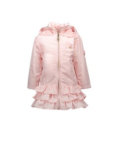 COAT PINK RUFFLE HOODED