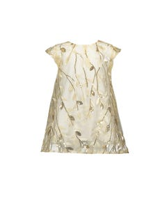 DRESS OFFWHITE & GOLD SEQUINS EMBROIDERED LEAVES