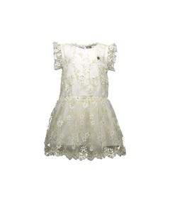 DRESS WHITE GOLD EMBROIDERED & FLOWER APPLIQUE TULLE