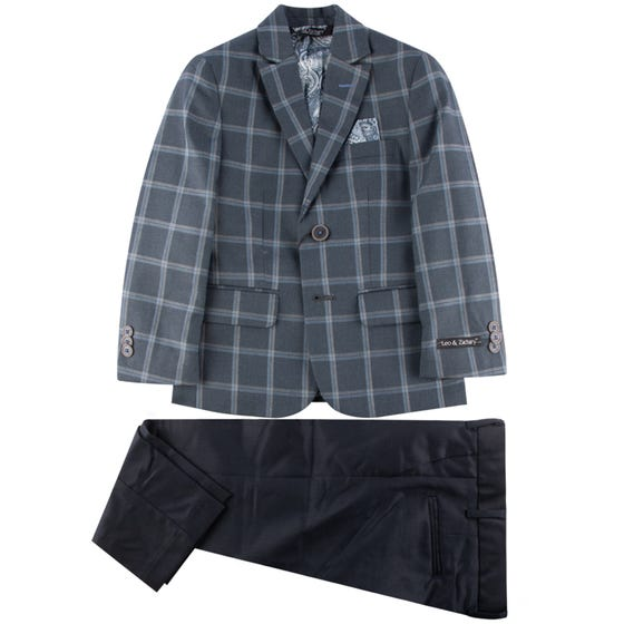 SUIT GREY CHECK NAVY