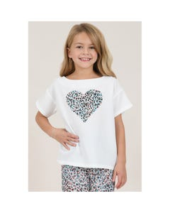 TOP WHITE MCL HEART PRINT SHORT SLEEVE