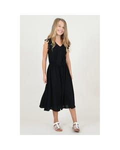 DRESS BLACK LONG LACE & TASSELS TRIM