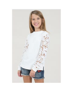 SWEAT TOP OFF WHITE LACE SLEEVES
