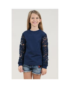 SWEAT TOP NAVY LACE SLEEVES