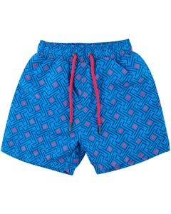 SWIM TRUNK BLUE MAZE RED DIAMOND PRINT