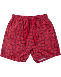 SWIM TRUNK RED & NAVY CIRCLES TRIPPY WAVES