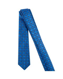 TIE ROYAL BLUE & NAVY PRINT BLUE SQUARE
