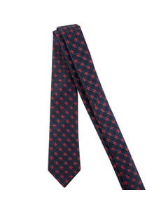 TIE NAVY PINK CROSS STITCH