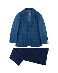 SUIT BLUE CHECK JACKET NAVY PANT SLIM FIT