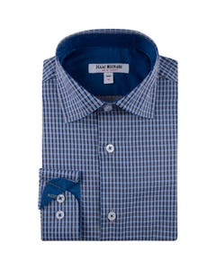 SHIRT GRAY ROYAL BLUE CHECK