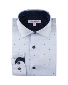 SHIRT BLUE  & NAVY DOT PRINT
