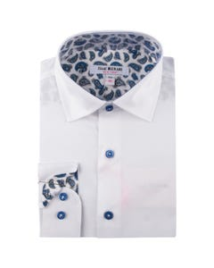 SHIRT WHITE NAVY PAISLEY PRINT CONTRAST