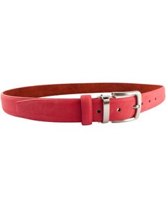 BELT RED HERRINGBONE SUEDE