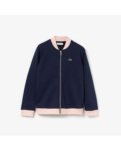NAVY SWEATER ZIP PINK TRIM HEART BACK