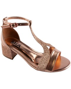 SANDAL ROSE GOLD AUBRIE SHIMMER WITH HEEL