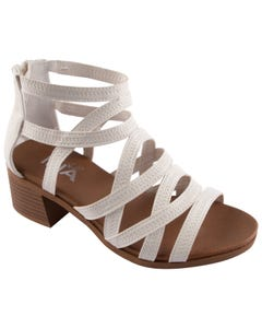 SANDAL LAINEY WHITE CRISS CROSS STRAPS WITH HEEL