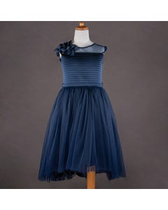 DRESS & HRCLIP NAVY TULLE PLEATED BODICE FLOWER TRIM BELT