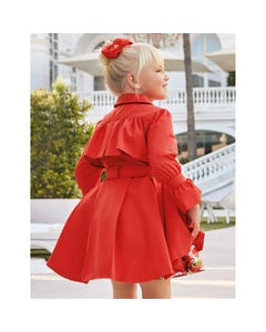 RAINCOAT RED WITH BELT & PLEATS