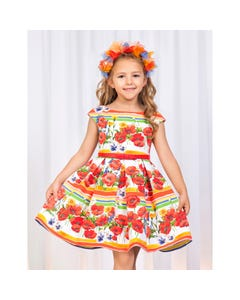 DRESS RED POPPY PRINT MULTI COLORED STRIPES PLEATS